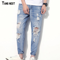 TANGNEST Hole Jeans 2017 New Fashion Brand Distressed Plus Size Jeans Slim Fit Denim Ripped Jeans