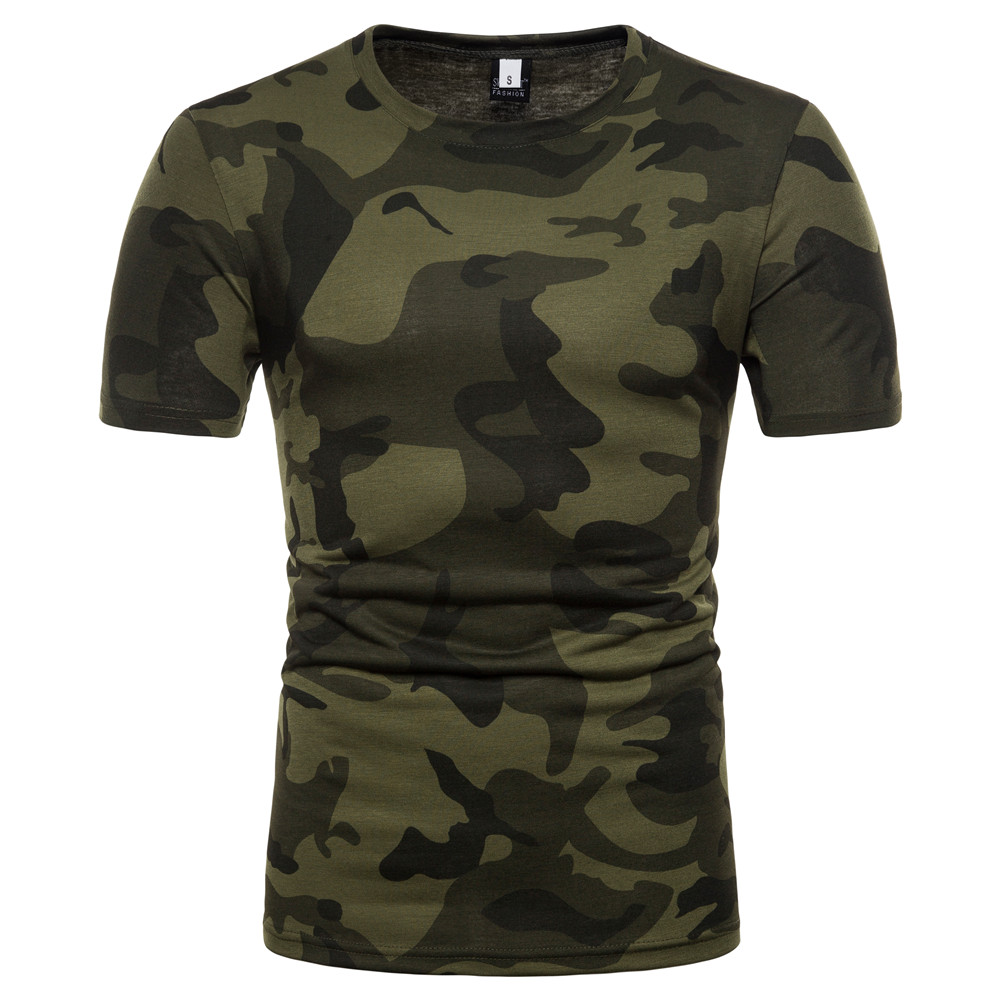 2018 Arrive New T-Shirt Men Camouflage Short Sleeve Base Shirt O-Collar Slim Fit tShirt