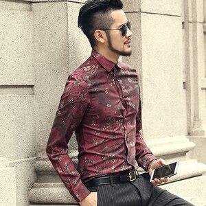Image 3 - Mannen nieuwe winter Vintage shirt gedrukt bloem lange mouwen mannen slim mode katoen Europese stijl kwaliteit brand shirt S2333