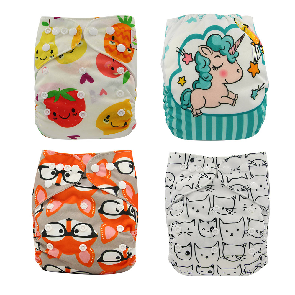 Pocket Diaper Cover Couche Lavable Newborn Ohbabyka Diapers Reusable Nappies Animal Unicorn Baby Cloth Diapers One Size Fits All