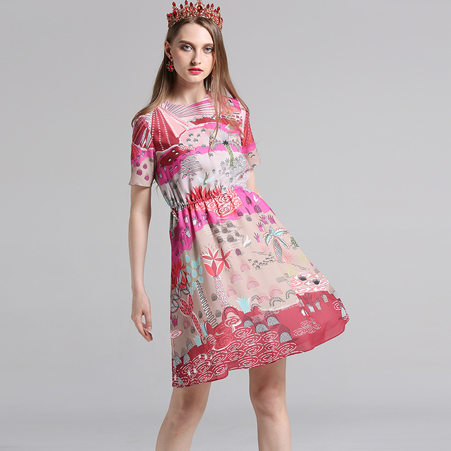 14cdeb4445 US $79.0 |High Quality 2017 Woman Summer Dress Landscape Printing O Neck  Bohemian Clothes A Line Fashion Cute Middle Dress -in Dresses from Women's  ...