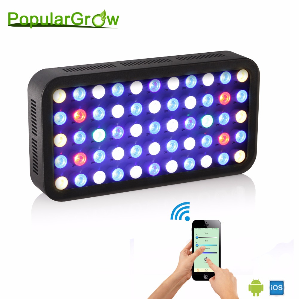 populargrow 165w WIFI Dimmable LED Aquarium Light marine light aquarium led lighting lamp for reef coral fish populargrow wifi 165w aquarium light for reef coral fish with dimmable and wifi function marine light best for tank