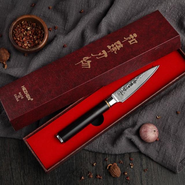 HEZHEN 3.5 soyma mutfak bıçakları VG10 şam çelik yüksek kaliteli dilimleme soyucu meyve sebze bıçak abanoz kolu