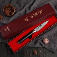 HEZHEN cuchillos de cocina para pelar cuchillos de acero damasco VG10, pelador de frutas y vegetales, mango de ébano, 3,5