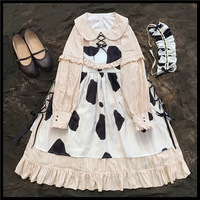 Free shipping 2019 Original design garden op off two cows bind apron Lolita dress made of pure cotton lace