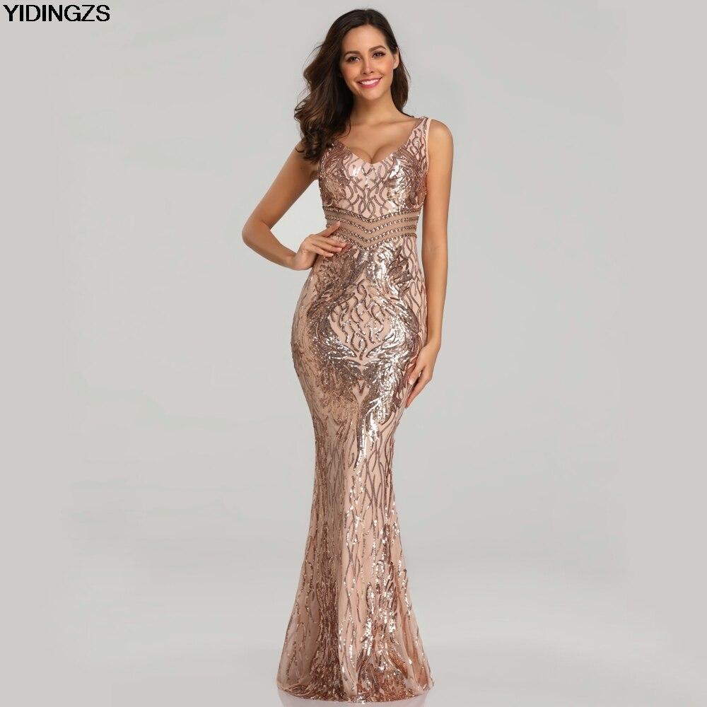 YIDINGZS New Sequins   Evening     Dress   Women Long See-through Beads   Evening   Party Dreess