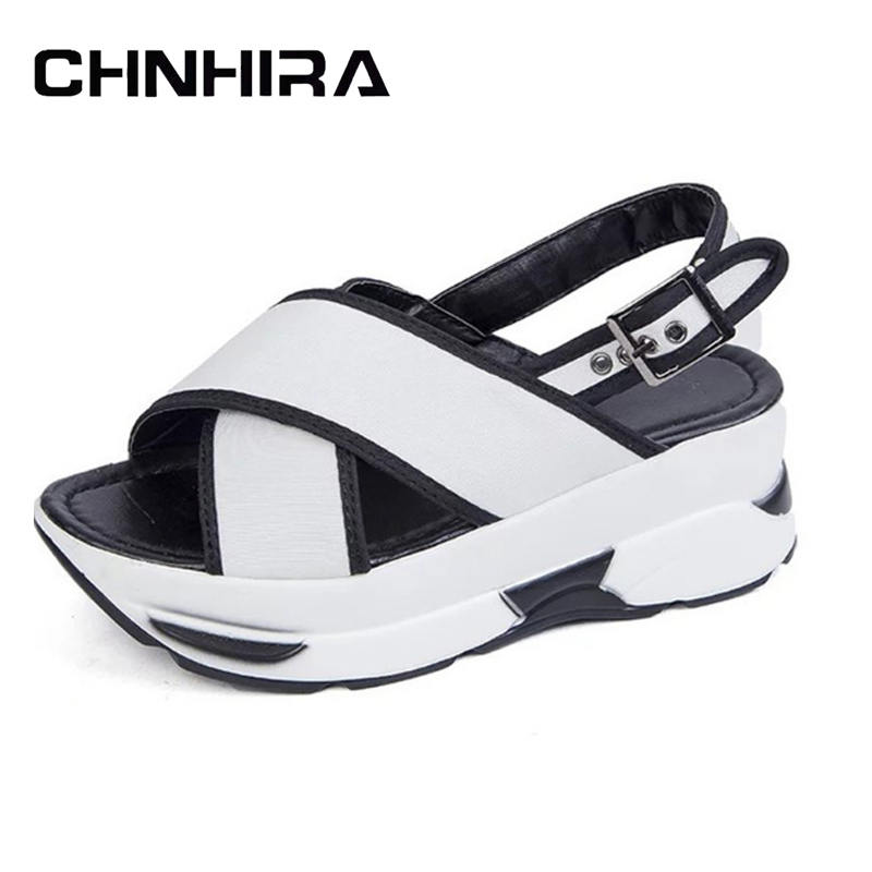CHNHIRA Platform Wedges 2017 New Gladiator Sandals Casual Creepers Buckle Shoes Woman Comfort Summer Women Flats Shoes #CH399 2017 summer new rivet wedges sandals creepers women high heel platform casual shoes silver women gladiator sandals zapatos mujer