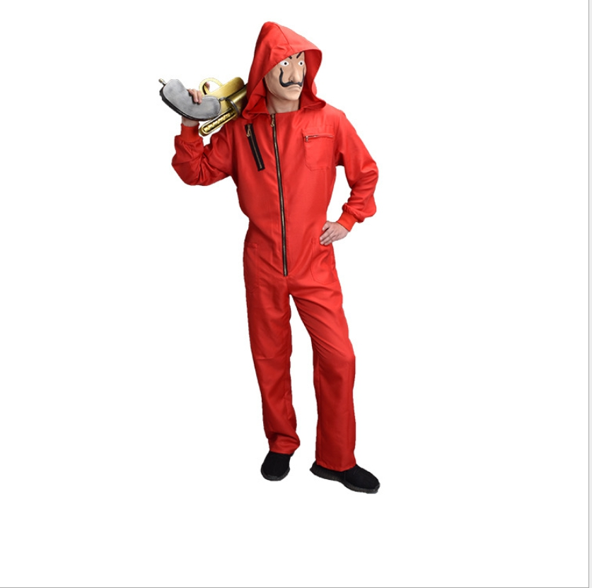 Movie La casa de papel Costume Cosplay Red Jumpsuit Costume Halloween Stage Costume Party Gift Drop Ship