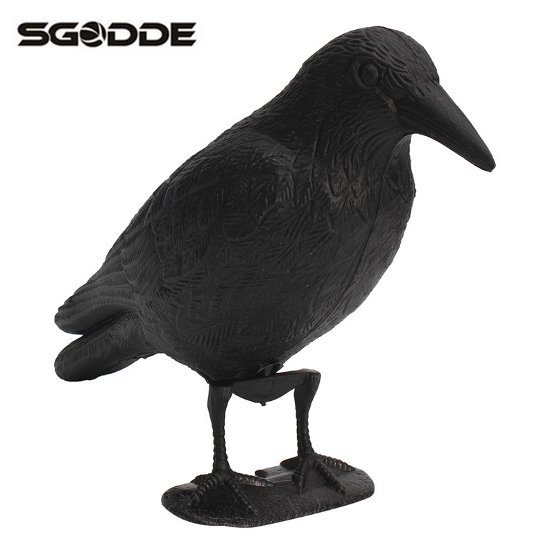 NEW Black Plastic Crow Hunting Decoy Garden Yard Bird Deter Scarer Scarecrow Mice Pest Control Deterrent Repeller Waterproof