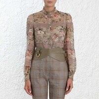 Винтажная блузка с цветочным принтом, топы с длинными рукавами для подиума, модная рубашка, женская дизайнерская Элегантная блузка 2019