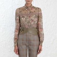 Винтаж Блузка цветочный принт топы с длинными рукавами взлетно посадочной полосы Модная рубашка для женщин дизайнер 2019 элегантная