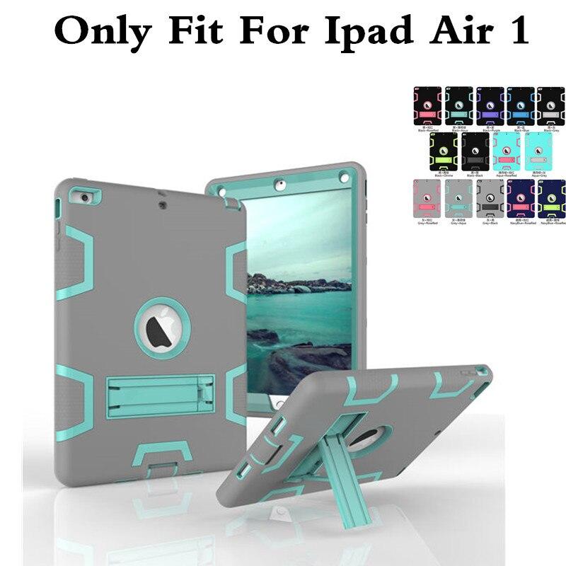 Для iPad Air1 Противоударный Heavy Duty Protect Shell Кожа Резина кремния Гибридный Крышка Случая Стойки Для iPad Воздуха 1 ipad5 таблетки