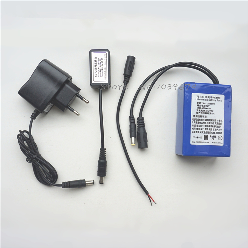 High Capacity <font><b>12V</b></font> 6800MAH Lithium-ion <font><b>3AH</b></font> Rechargeable <font><b>Batteries</b></font> for Power Bank with Free Charger,5V USB Charger,DIY Connector image