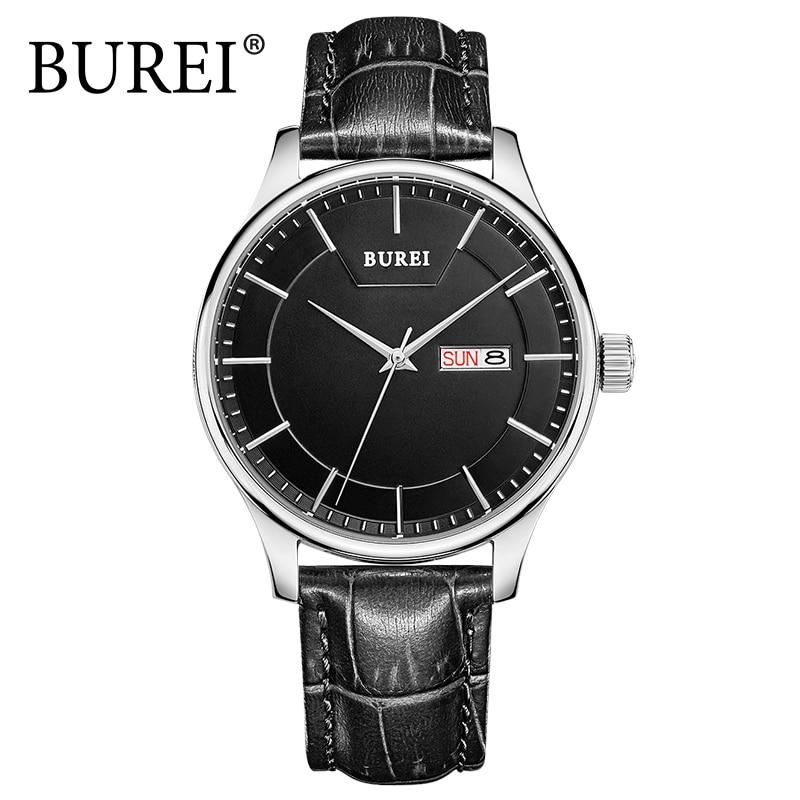 BUREI 2016 Luxury Fashion Watch Men Leather Strap Analog Quartz Casual Wristwatch 3ATM Waterproof Male Watches