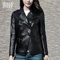 Negro chaquetas de cuero genuino 100% de cuero de piel de oveja abrigos traje chaqueta veste en cuir femme LT1169 jaqueta de couro envío gratis