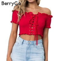 BerryGo Off shoulder ruching sexy tops tees Lace up print tank top ruffle short shirt 2018 Summer white camisole women