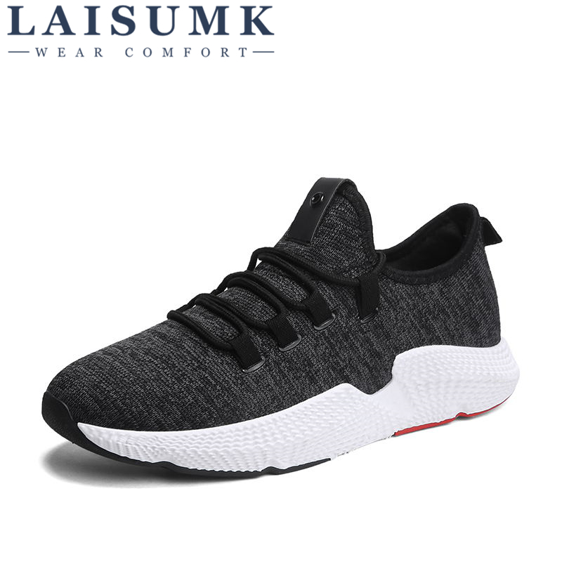 2018 LAISUMK Mens Casual Shoes Fly Weave Spring Luxury Brand Fashion Shoes Soft Breathable Lightweight Sneakers for Men Shoes