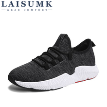 2019 LAISUMK Mens Casual Shoes Fly Weave Spring Luxury Brand Fashion Soft Breathable Lightweight Sneakers for Men