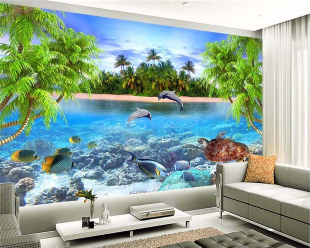 beibehang Custom photo wallpaper large mural wall stickers Coconut trees dolphin Turtles background wallpaper papel de parede flame trees of thika