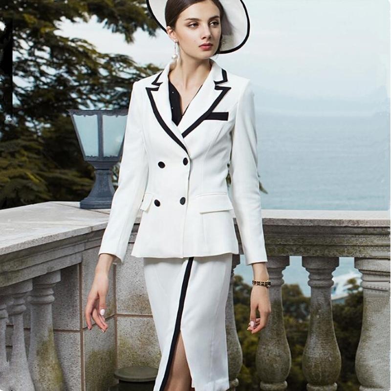 Women Skirt Suits Elegant Office Lady Vintage Double Breasted Blazer Coat Open Fork Midi Skirt Formal Work Two Piece Set Uniform