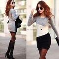 2014 NOVA OL das Mulheres Roupas Da Moda Bodycon Knit Outono Inverno mini vestido Tops