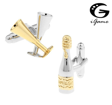 IGame Factory Supply Champagne Cuff Links Gold-color Brass Material Novelty Drinking Bottle & Cup Design Free Shipping