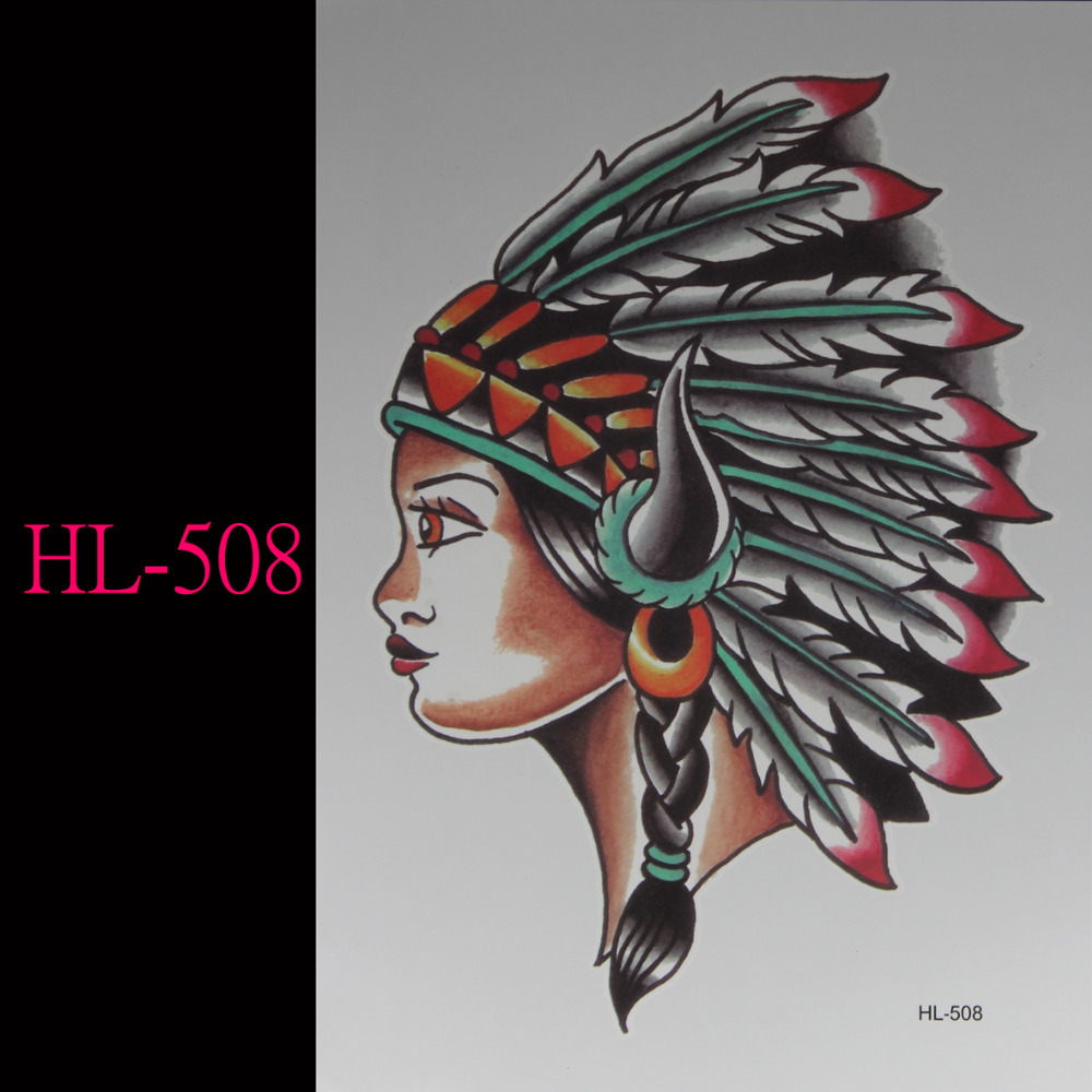 Indian Tribes Girl 3d Tattoo Temporary Tattoo Stickers Flash