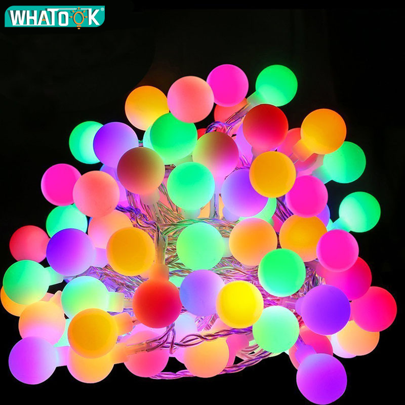 EU Plug String Light Outdoor Indoor LED Ball Lights Connectable Garland Festival Lamp Fairy Wall Party Curtain Decoration Gift