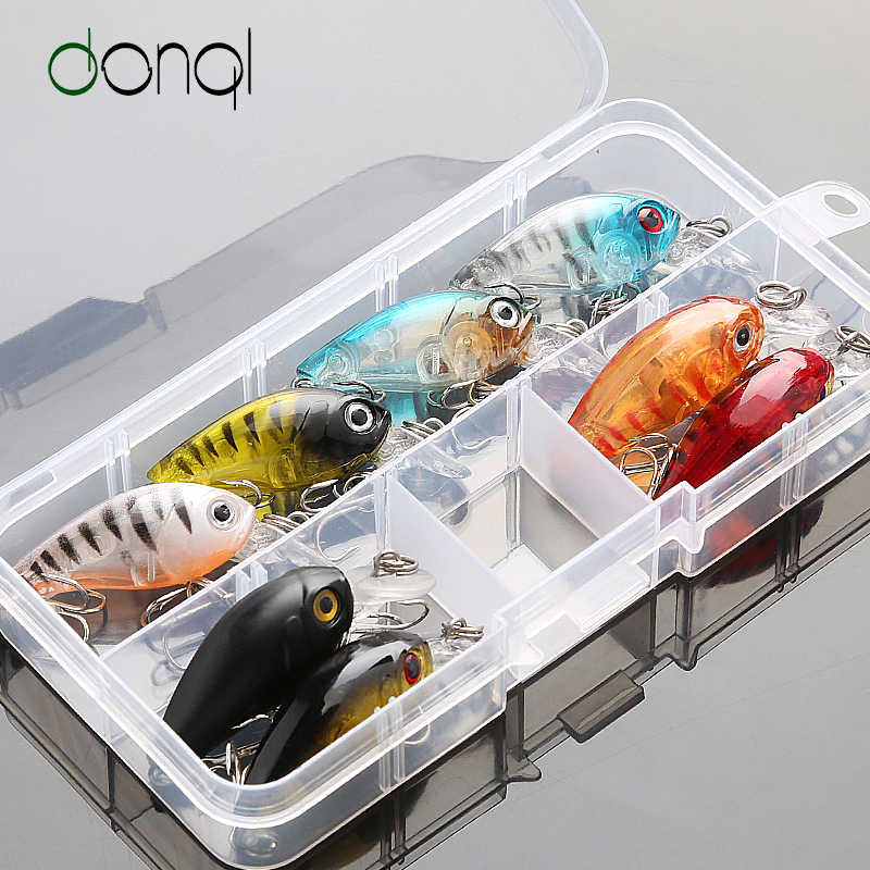 DONQL 5/8/10pcs Mixed Colors Fishing Lure Set Minnow Baits Kit Wobbler Crankbaits with Box Treble Hooks Fishing Tackle hard Bait