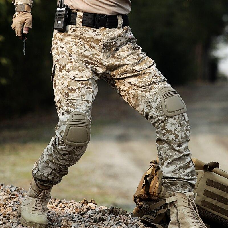 Tactical ejército pantalones Cargo militar Fuerzas Especiales pantalones camuflaje Mens SWAT trabajo Pantalon combate CS pantalones y rodilleras