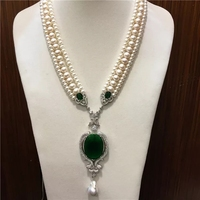 3rows Freshwater Pearl White Near Round Necklace Green Pendant 19inch Wholesale Beads FPPJ