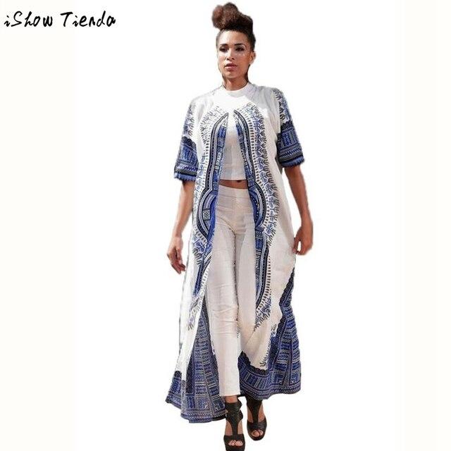 Женщины Повседневная Эластичный TrenchTraditional Африканской Печати Открыть Стежка Партия Длинные Женщины Clothing #2715