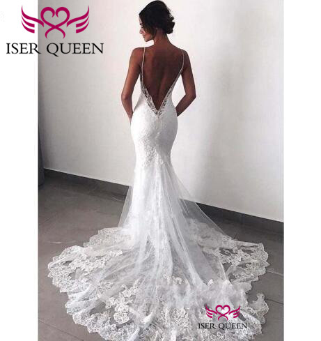 Embroidered Lace Appliques Bride Dress With Shoulder-straps 2019 Trendy South American Backless Lace Mermaid Wedding Dress W0527