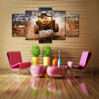 No Frame 5 Panel Wild Motorcycle Rally Modern Home Wall Decor Art HD Print Painting Canvas