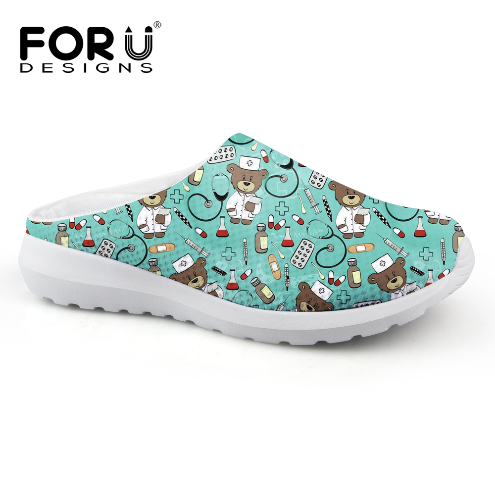 FORUDESIGNS Summer Slippers Woman Cute Women's Casual Beach Sandals Cartoon Nurse Bear Pattern Flats Women House Slippers Shoes instantarts women flats emoji face smile pattern summer air mesh beach flat shoes for youth girls mujer casual light sneakers