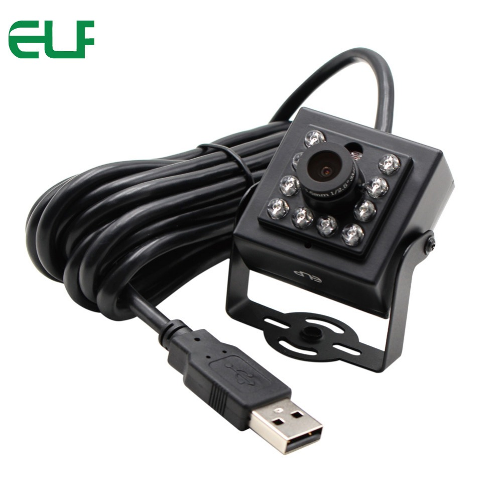 ELP 1080P CMOS OV2710 UVC Android Linux IR Mini USB Camera Night Vision with 8mm lens and 850nm IR pass filter elp high speed 2mp cmos ov2710 module wide view angle fisheye uvc android linux ir led board night vision hd usb camera 1080p