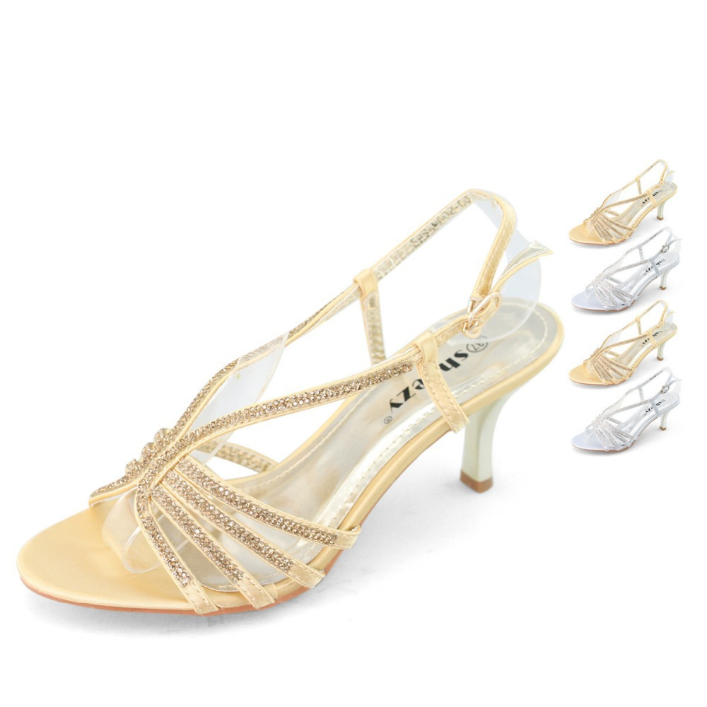 97c509ac4307b SHOEZY Brand womens low heel wedding shoes woman diamante kitten heels  silver party prom rhinestone sandals gold mid heel shoes-in Women's Sandals  from ...
