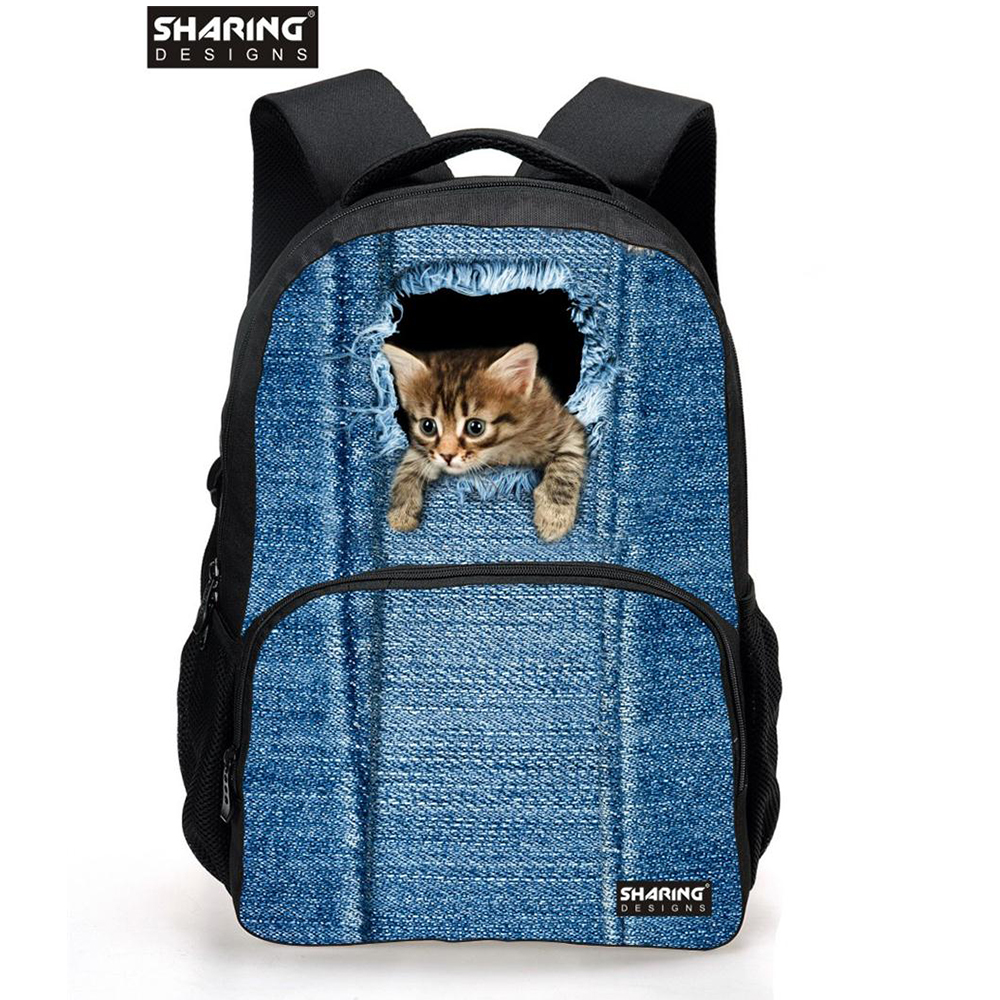2017 Famous Brand school bags Women Vintage Cute Cat Head School Backpacks for Teenager Girls Student Cmoputer Mochila Feminina
