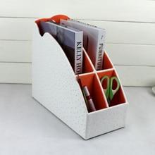 4-слот дерево кожа настольные офис файл документа канцелярских лоток стойки файл стенд организатор pen holder коробки страуса белый 266C