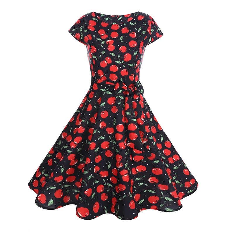 f88d532632500 2019 Summer Women Hepburn Dresses Short Sleeve Cherry Printed Pin up Robe  Vintage 50s Rockabilly Dress Big Swing 60s Bow Tie