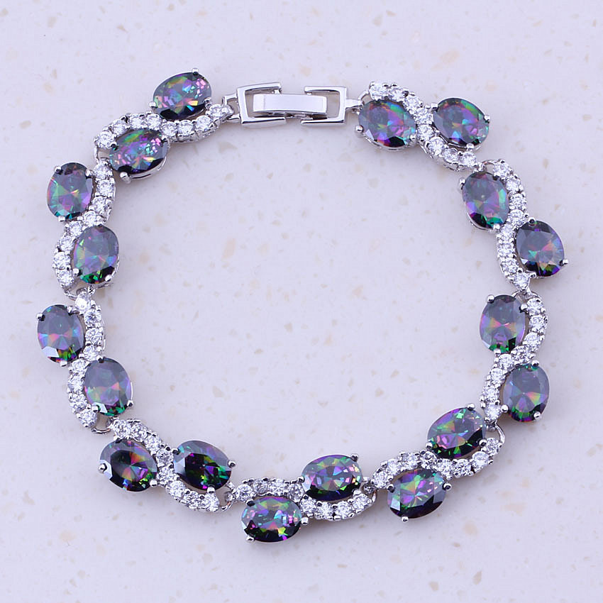 Glittering Rainbow Mystic Crystal Cubic Zircon Silver Color Trendy Charm Bracelets For Women Party Fashion Jewelry D0087