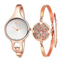 Fashion XINGE Women Gold Rhinestone Bangle Watch Bracelet Set lady dress watch