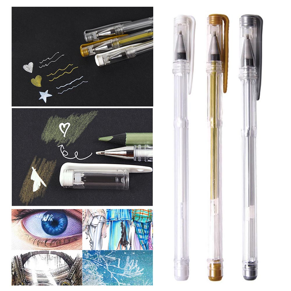 3Pcs/lot 0.7mm White Gold Silver Gel Pens Sketching Drawing Pen For Art Marker Design Comic Manga Painting Supplies