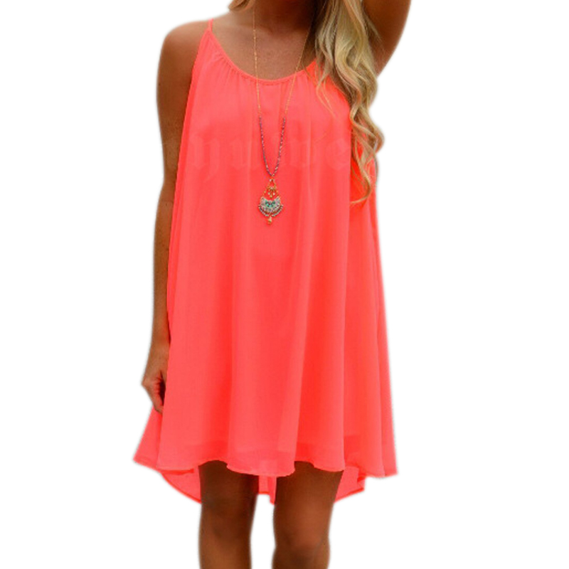 <font><b>Sexy</b></font> Women Summer Chiffon Strap <font><b>Dress</b></font> Casual Loose Sleeveless Solid Beach <font><b>Dresses</b></font> Plus Size <font><b>5XL</b></font> SSA-19ING image