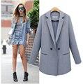 2016 New Women Fashion Autumn Winter Two Buckle Long Suit Jacket Loose Women Blazer Female Coat Outwear