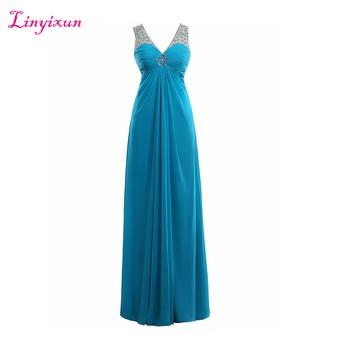 Linyixun Real Photo Blue Evening Dresses 2017 Deep V Neck Chiffon Beaded Elegant Long Formal Prom Dresses Robe De Soiree