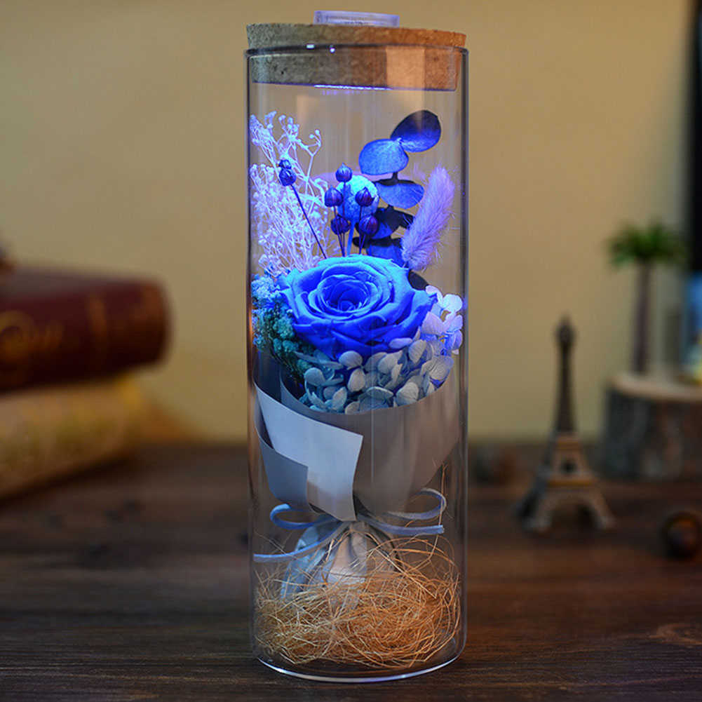 Glass LED Rose Glass Cover Floral Decor Forever Rose Flower Preserved Fresh Flower Fresh Flower Birthday Lighting Mother'S Day