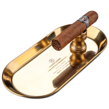 European bronze simple practical  portable cigar tray ashtray two-piece suit w/cigar holder gift set metal CL-103B