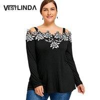 VESTLINDA Plus Size 5XL 4XL Autumn T Shirts 2017 New Embroidered Cold Shoulder T Shirt Solid