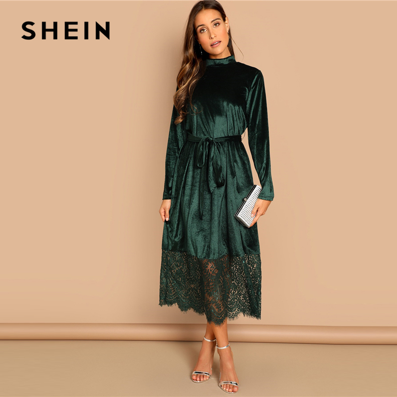 SHEIN Green Waist Belted Mock-Neck Velvet Dress Long Sleeve Lace Hem Solid Dress Casual Elegant Women Autumn Modern Lady Dresses